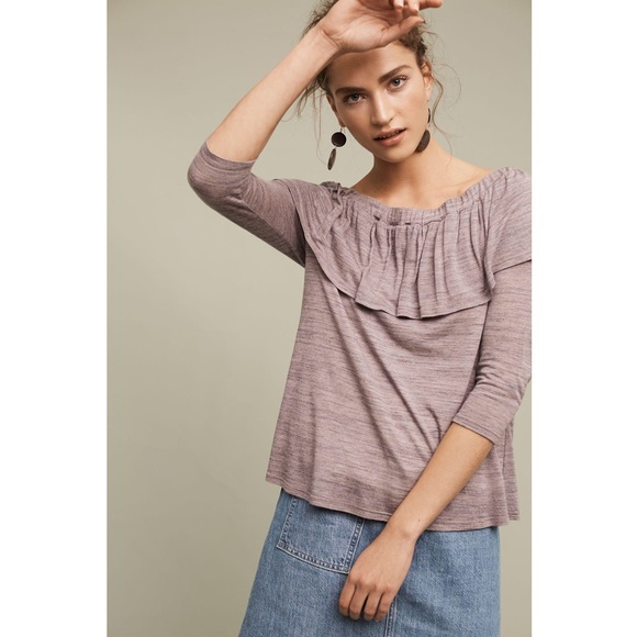 12d5d203f2ee2 Anthropologie Tops - Anthropologie Gray Charla Off-the-shoulder Top